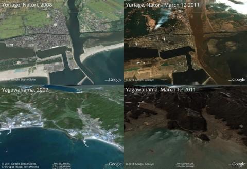 日本震后卫星地图