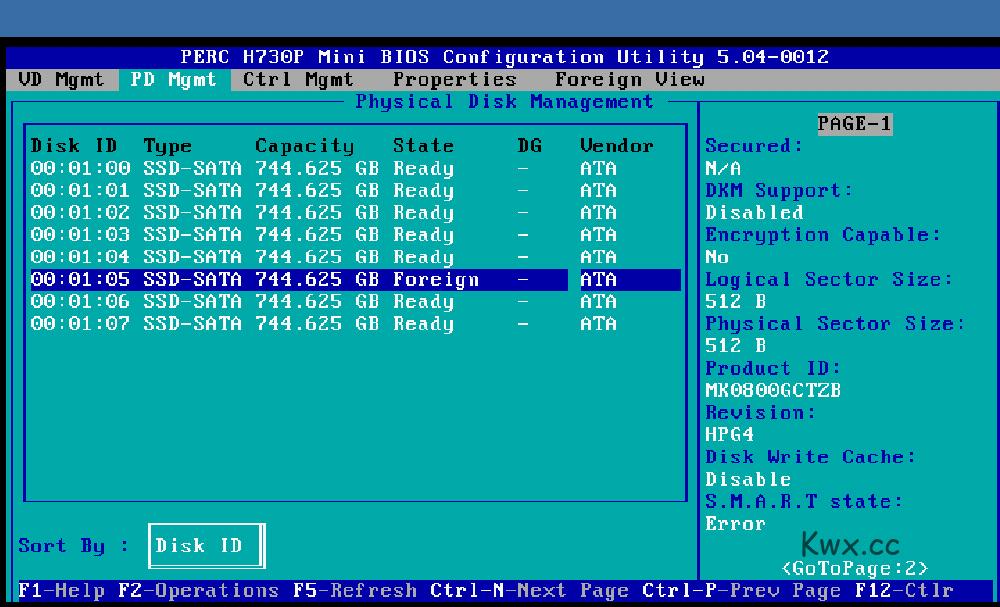H730P Raid下硬盘Foceign解决方法